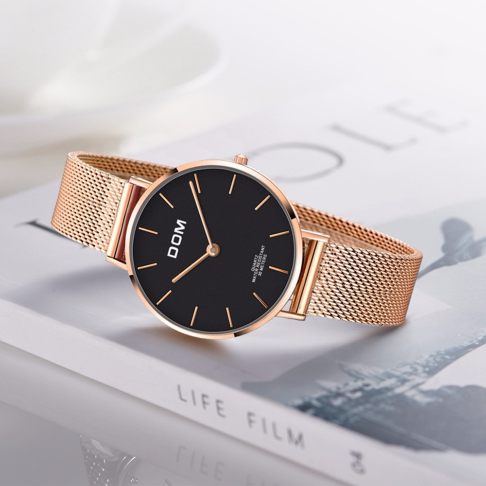 Image 3 - DOM Top Brand Luxury Women Watches Waterproof Business Rose Gold Stainless Steel Ladies Quartz Wrist Watch Reloj Mujer G 36G 1M1Womens Watches   -