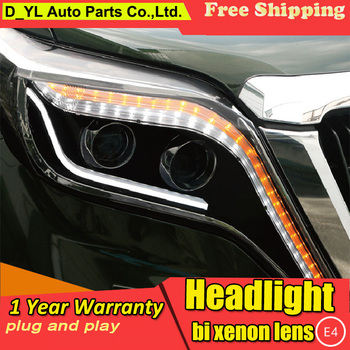 Car Styling For Toyota Prado headlights 2014-2016 Prado led headlight Head Lamp led drl projector headlight H7 hid Bi-Xenon Lens