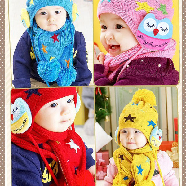 Child Baby Kids Beanie Crochet Earflap Hat Scarf+Cap 2pc Five Pointed Star Gift For