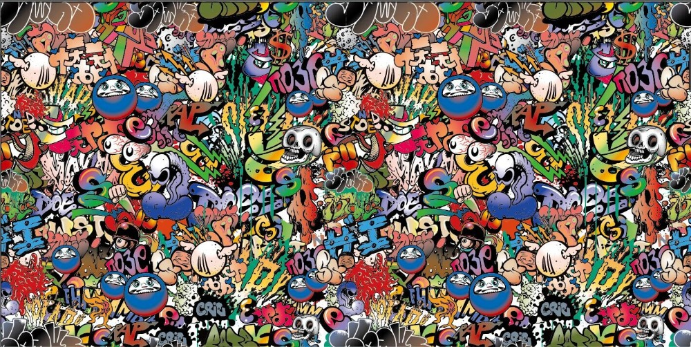 Colorful Graffiti Sticker Bomb Car Wrap Vinyl Film Decal For Car Wrapping Film Air Bubble Free Size:1.50*30m/Roll