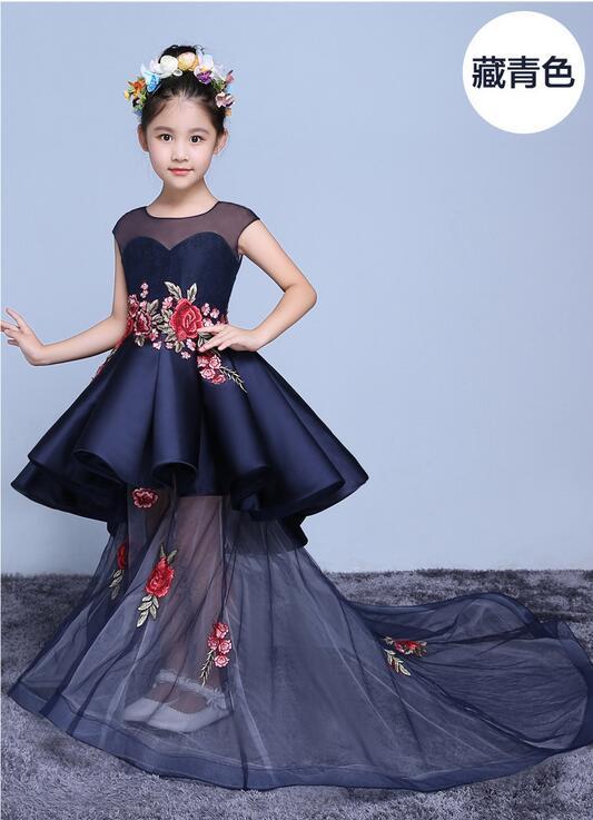 Handmade Embroidery Flower Girl Dresses Scoop Short Sleeveless Floor Length Satin Tulle Appliques Ball Gown Kids Wedding Dress