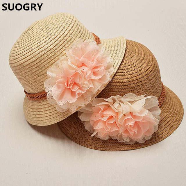 a19f677eda51a placeholder 2017 Primavera verão para Crianças de Varejo flor cúpula chapéu  de palha chapéu de Praia meninas