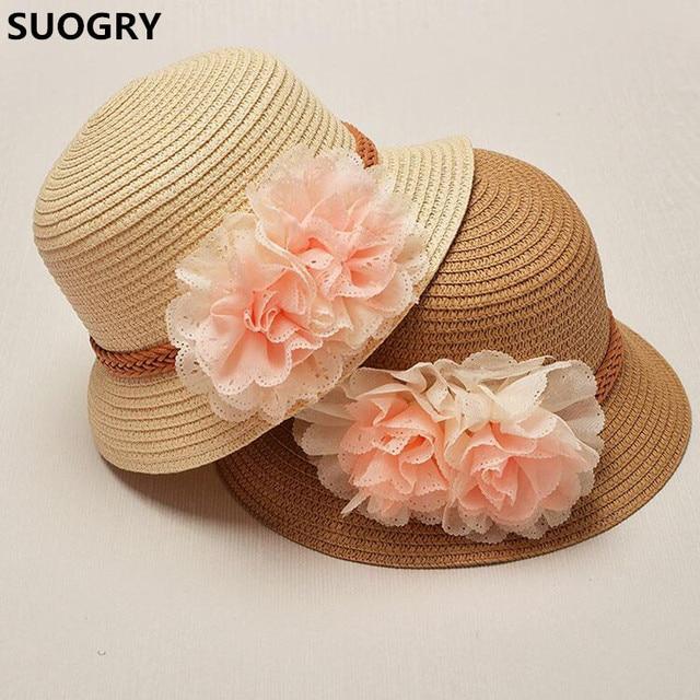 04107255 2017 Spring summer Retail Children flower dome straw hat baby girls Beach  Hats kids sun hat