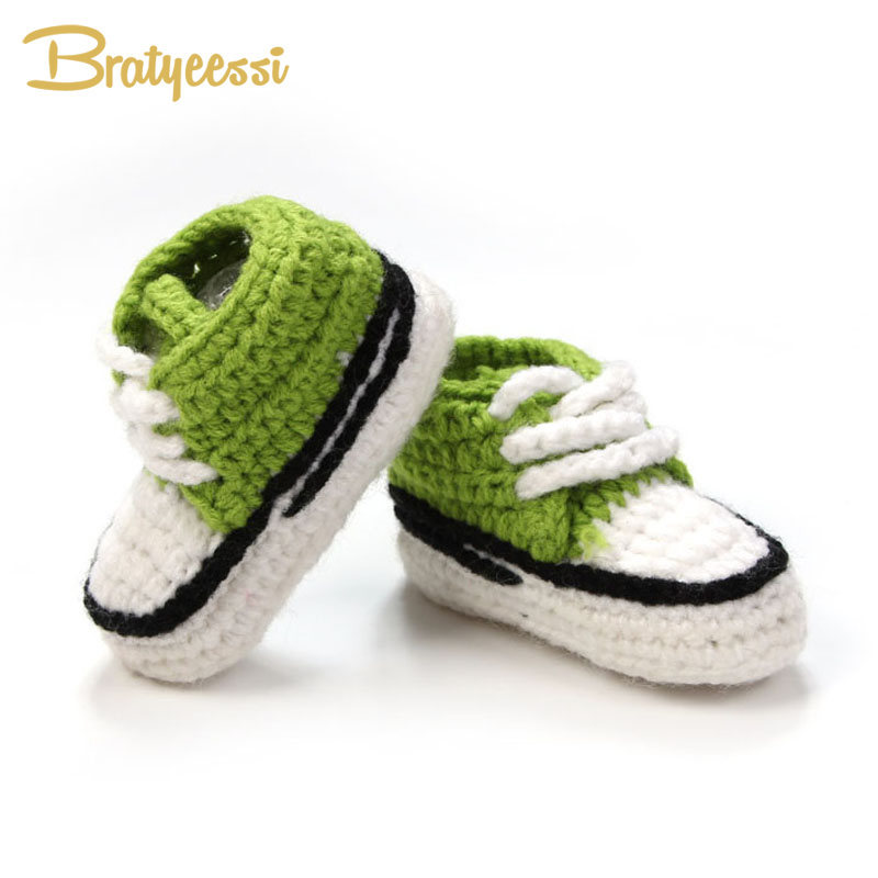Crib-Shoes Crochet Booties Knitted Handmade Infant Baby Lace-Up 10cm Multicolor