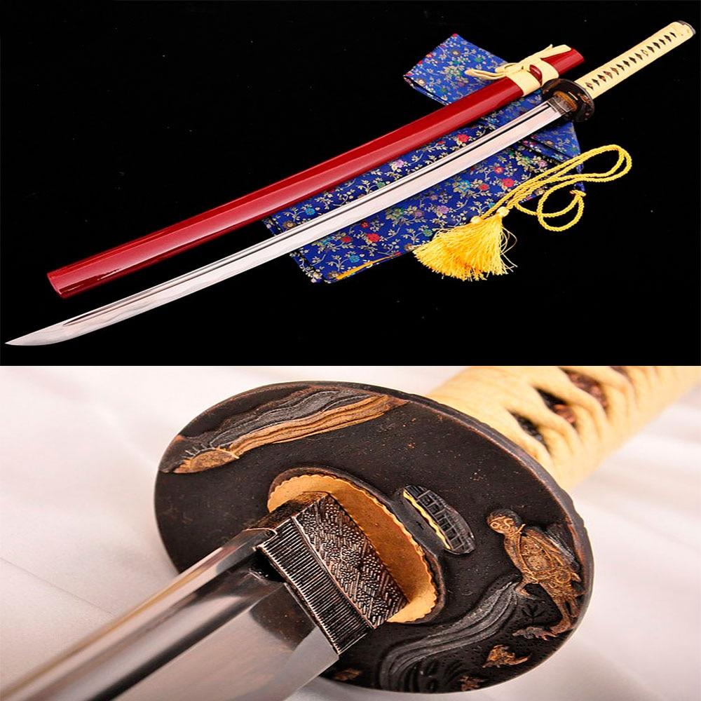 Handmade katana samurai japanese sword Carbon Steel Alloy fittings Full Tang Furniture decoration Tactical training