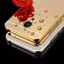 Espelho chapeamento de casos para meizu pro5 bumper armação de metal + acrílico protetor capa para meizu pro6 pro 6 mobile phone case shell