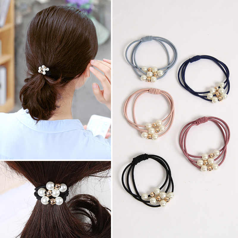 The new Korean version of Pearl beaded knot hair rope three shares in one, like leather tendons hair ring hairband