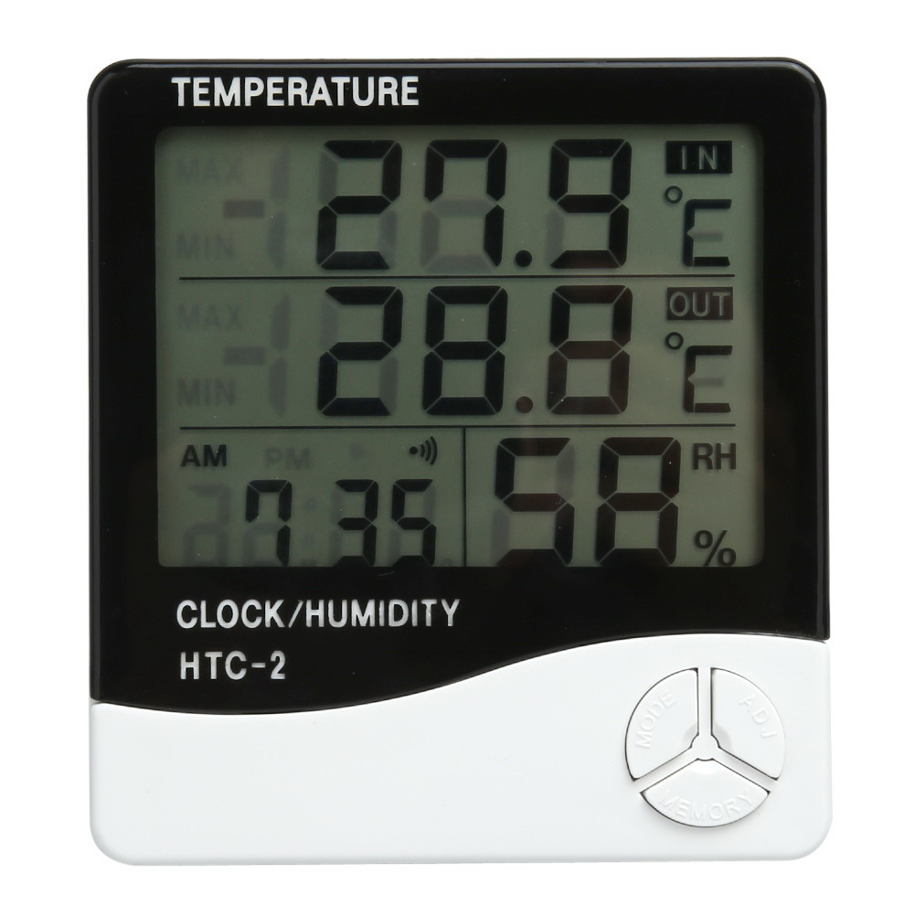 LCD Digital Thermometer Hygrometer Indoor Electronic Temperature Humidity Meter Clock Weather Station Household Thermometers