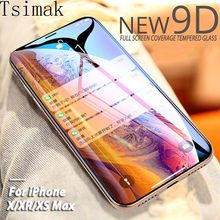 9D Tempered Glass For iPhone 7 8 Plus 6s 6 X XR XS 11 Pro Max Screen Protector Protective 6D Full Coverage Glue Glass Film(China)