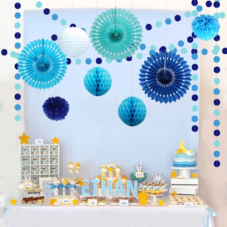Blue 1st Birthday Girl Party Decorations Sets Kids One Year Paper Whale Banner Confetti Balloons Boy