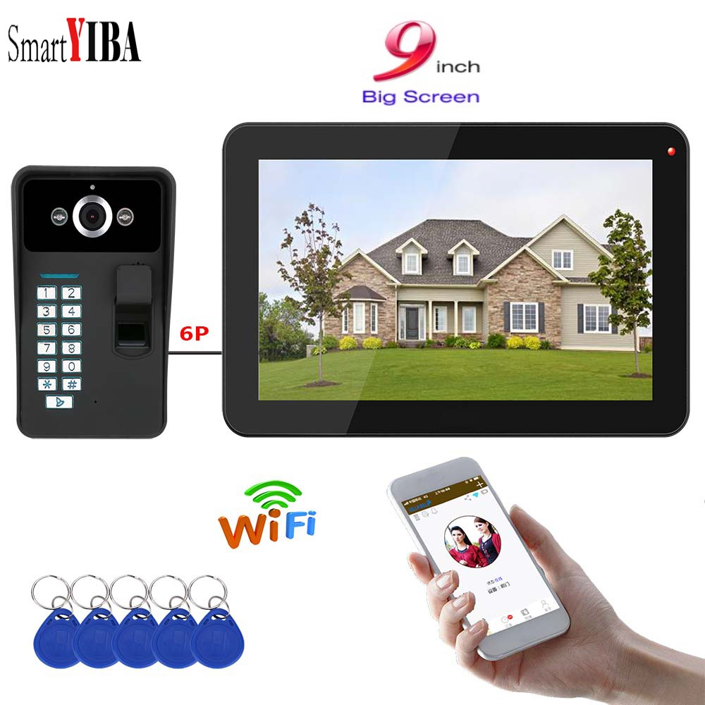 SmartYIBA 9 Inch Apartment Intercom Wired WiFi Video Door Phone Doorbell Intercom System 1000TVL Wire IR