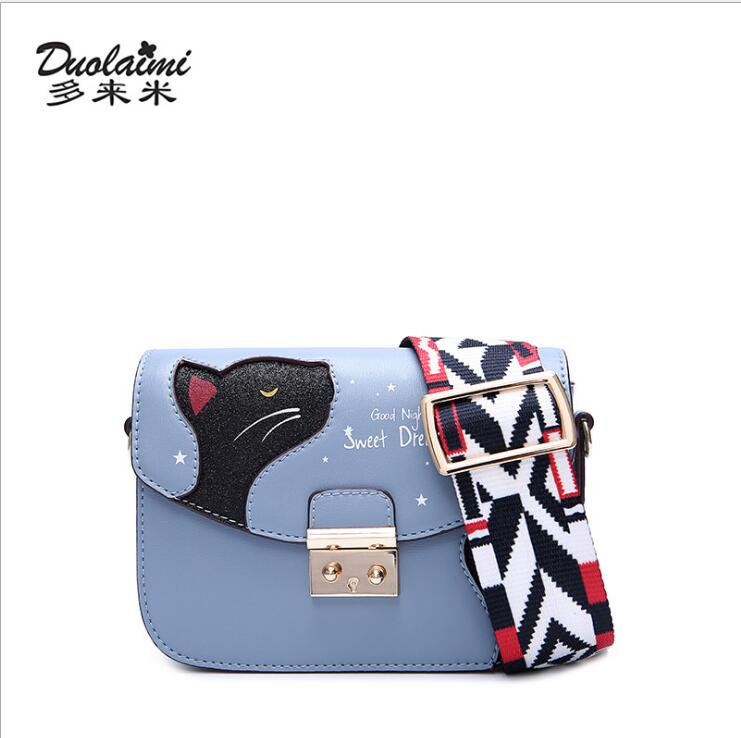 DuoLaiMi 2018 Wide Ribbon Straps Casual All Match Lock Patchwork Cat Solid For Women Shoulder Bags Messenger Flap Crossbody BAG