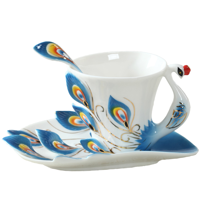 Peacock Coffee Mug Cup Ceramic Creative Cup Bone China 3D Color Enamel Porcelain Saucer Spoon Coffee
