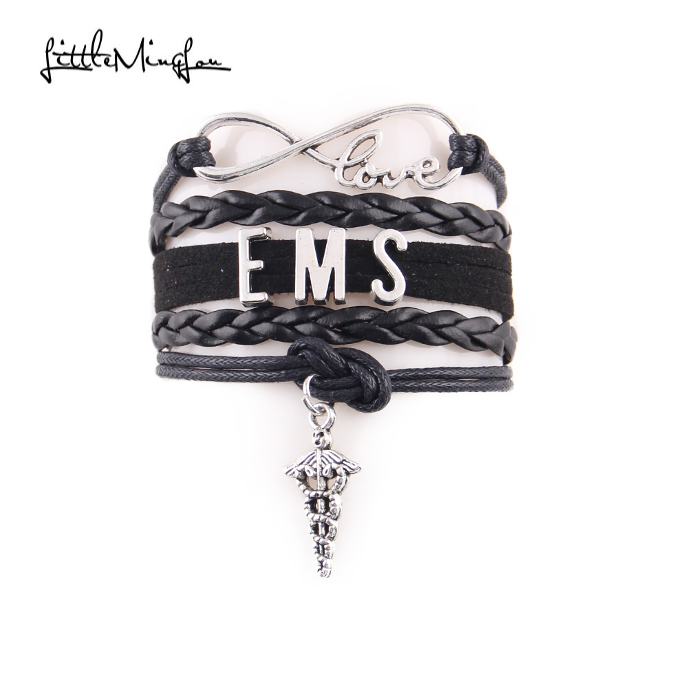 Little Minglou 2 Colors Infinity Love Ems Bracelet Medical Charm Leather Wrap Men Bracelets Bangles For Women Jewelry In From