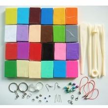 24 colores de arcilla polimérica bricolaje conjunto de arcilla de modelado suave con 5 piezas de herramientas para niños o joyería Artis hacer no tóxico Slime Toys