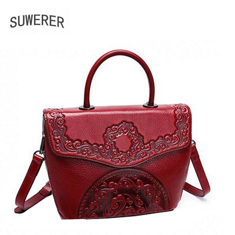 Purple Taschen Echtes Luxus Handtaschen red Blume Leder Frauen 2019 Designer Überlegene Tasche Rindsleder Geprägte Tote 0OtxRwHd