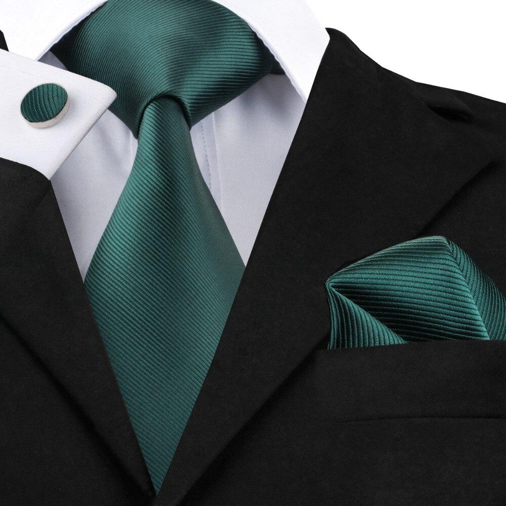Solide Silk Mens Ties Krawatte Set für Männer Anzüge Krawatte Einstecktuch Manschettenknöpfe Gravatas Krawatten für Männer Hochzeit Vestidos Corbatas