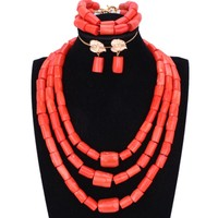 Chunky Original Coral Beads Jewelry Set for Nigerian Weddings Orange or Red African Women Necklace Bride Indian Bridal Jewellery