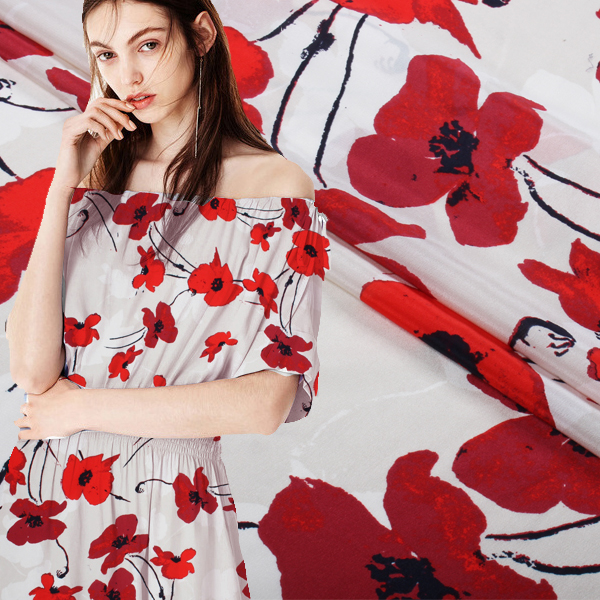 140 cm crêpe de chine tissu en soie de mode romantique fleur robe en soie tissu en crêpe de soie tissu en gros tissu de soie
