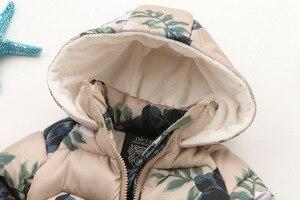 Image 2 - ニューキッズ冬のジャケットカジュアルなフード付きジッパー上着女の子コート綿入りプリント子供子供服 2 9 歳