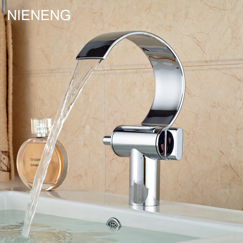 NIENENG bathroom faucet waterfall basin faucets hot double holder WC single hole mixers copper mixer chrome bath tap ICD60187 nieneng big discount basin washroom mixer bathroom faucet tap mixers wc sanitary ware water toilet taps polished chrome icd60157