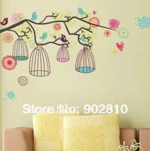 [listed in stock]-Colorful Tree & Bird Cage Decorative Kids room Wall Sticker transparent
