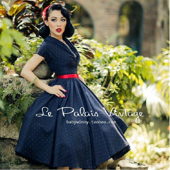 Rétro élégant bleu foncé polka dot robe à volants Col V robe tissu plein coton tunique midi grand swing vintage rétro 50 s 60 s dresse