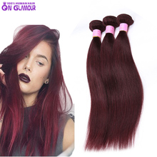 Burgundy Weave Brazilian Virgin Hair Straight 2Pcs Human Hair Extensions Color 99J Red Wine Hair Weaves Cheap Brazilian Straight