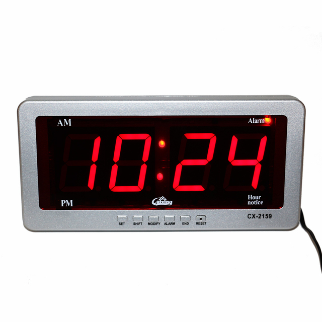 Digital Led Alarm Clock Large Number Desk Clocks Electronic Ac Ed Wall Red Display