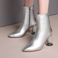 Genuine Leather Women Boots 2019 Vintage Gold Silver Ankle Boots Women Shoes Crystal High Heels Ladies Shoes Woman Winter Boots