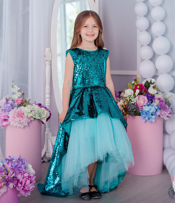 Princess Customized tutu dress Flower girl Dress sequins dress girls High Low birthday gown Size 2-16Y plus size mesh panel high low bodycon dress