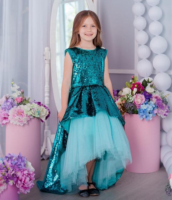 все цены на Princess Customized tutu dress Flower girl Dress sequins dress girls High Low birthday gown Size 2-16Y