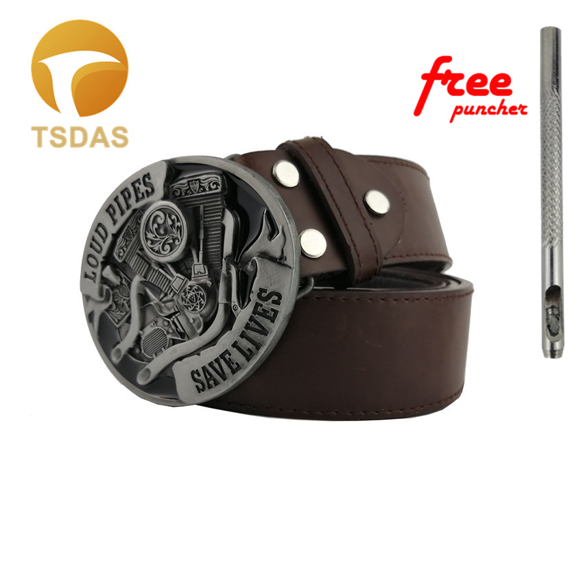 Loud Pipes Save Lives Motorcycle Engine Metal Belt Buckle 8.1*6.9cm, Silver Oval Belt Buckle With Pin Buckles