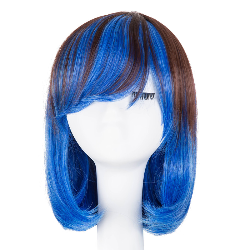 Fei-Show Synthetic Heat Resistant Fiber Wavy Inclined Hair Student Bob Picture Color Hairpiece Costume Cos-play Short Peruca