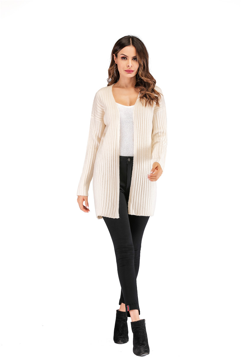 Fall Winter Cute Knitted Middle Long Ribbed Cardigan Dress for Women Kawaii Ladies Knit Drop Shoulder Sweater Coat Oversized S-L 15