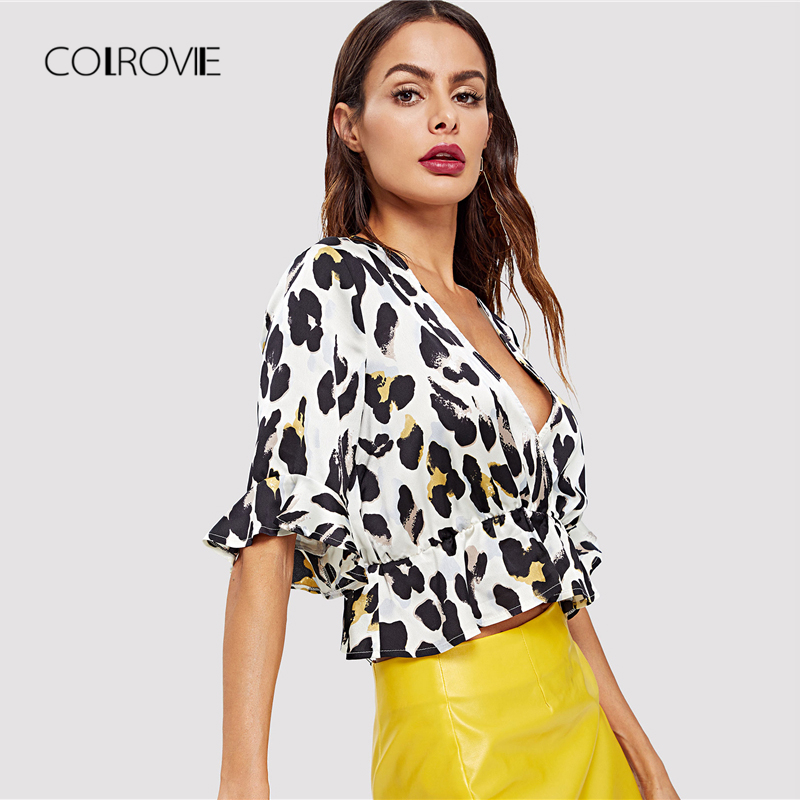 6f9ed25fd41 COLROVIE Deep V Neck Leopard Print Ruffle Blouse Shirt 2018 Summer New Sexy  Shirt Short Sleeve Blouse Workwear Women Clothing-in Blouses   Shirts from  ...