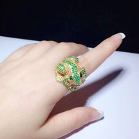 Qi Xuan_Fashion Jewelry_Green Stone Simple Elegant Frog Woman Rings_S925 Solid Sliver Fashion Rings_Manufacturer Directly Sales