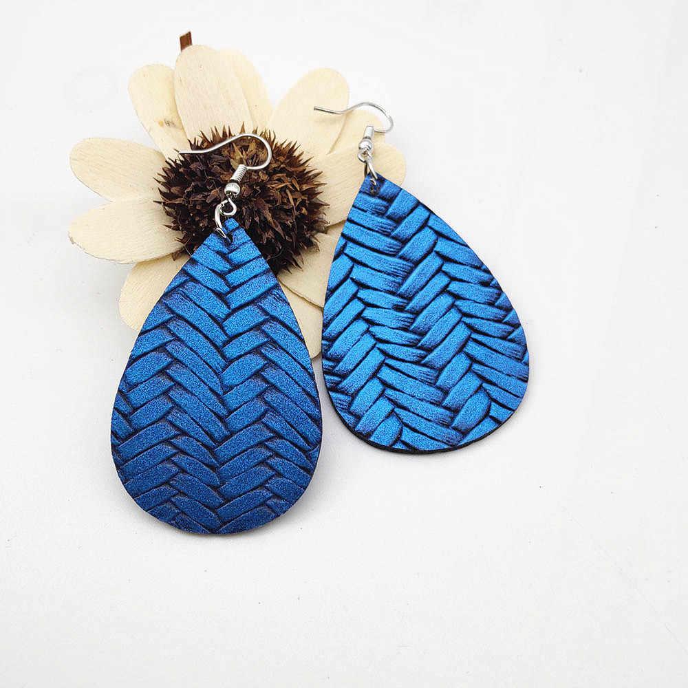 Tối giản Da Bông Tai Giọt bắt chước Mây da đan bông tai lớn Bông Tai Nữ Tặng trang sức bông tai Vintage