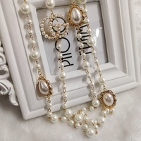 Mimiyagu Luxury Colorful Pearl Pendant Letter Pendant Women High Quality Sweater Chain Necklace Jewelry