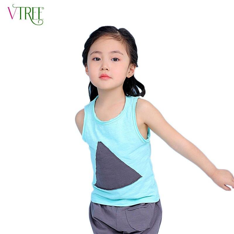 New Fashion Boys Girls Tank Tops Triangular Patch Kids -7535