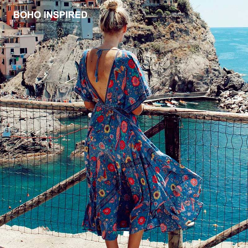 Us 23 3 37 Off Boho Inspired Dress Retro Bohemian Summer Ethnic Deep V Neck Fl Print Tel Tied Elastic Waist Maxi Women 2018 In