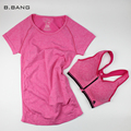 B.BANG New Women Casual T-shirt + Push Up Bra Sets Quick-Dry Fitness Tops Clothing for Female One Suit Free Shipping