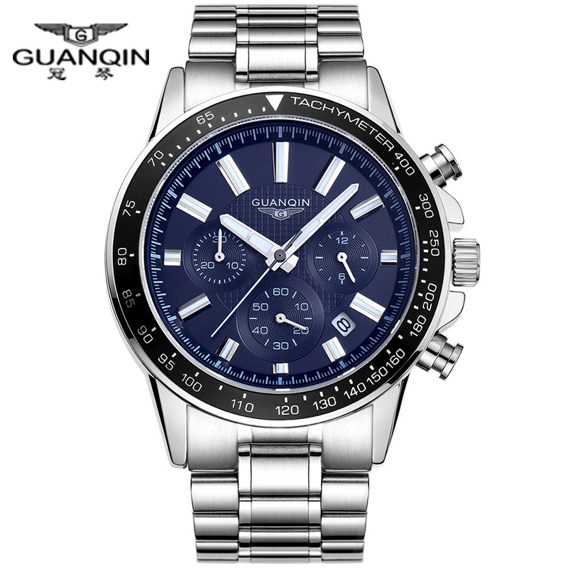 где купить  Top Brand Mens Watches Luxury GUANQIN Quartz Watch Men Fashion Blue Clock Full Steel Waterproof Wristwatch Male brand watches  дешево