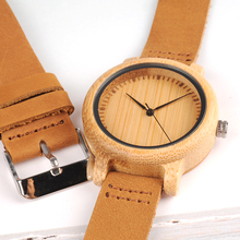 Lovers Wood Watches for Women Men Leather Band Bamboo Couple Casual Quartz Watches OEM as Gift