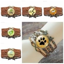 Bracelet Infinity Braided Women Jewelry Glass Dog-Paw Lovers Gift Fashion Dome Copper
