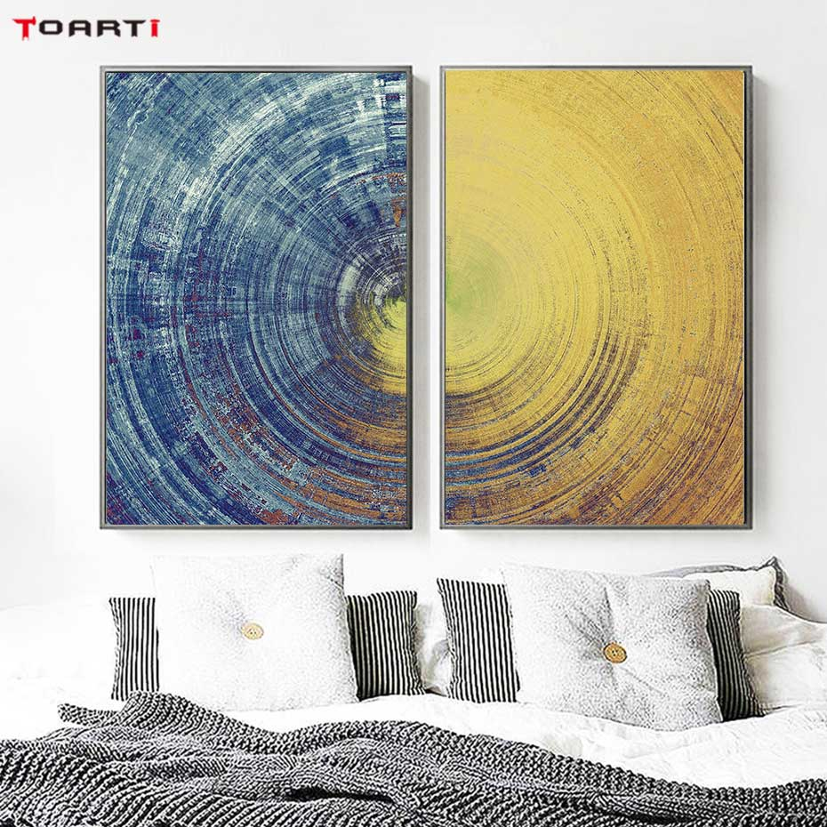 Abstract Blue And Yellow Circles Pattern Canvas Painting Modern Posters And Prints Wall Art Pictures For Living Room Home Decor-in Painting & Calligraphy from Home & Garden