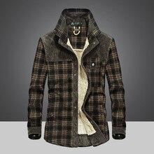 2018 Fashion men's shirt blouse man Winter thick warm print lattice 26 colors Plus velvet thickening New warm shirt Long Sleeve
