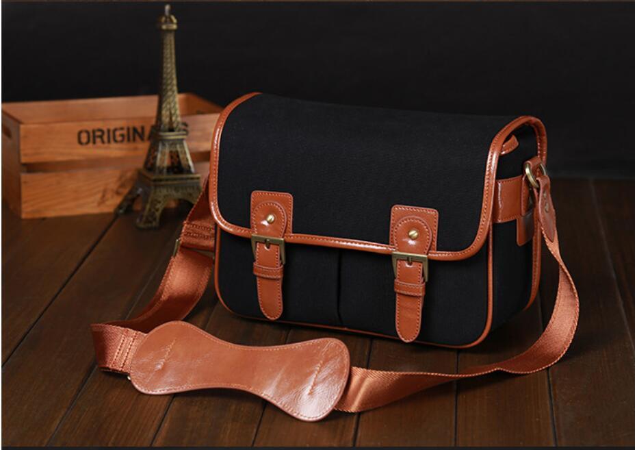 Sac de mode rétro appareil photo DV pour Canon Nikon Sony Samsung Leica JVC loisirs style toile sacs noirs
