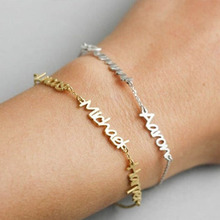 Custom Name Bracelet Personalized 3 Names Gold Chain Jewelry For Family Lovers Stainless Steel Bijoux Femme