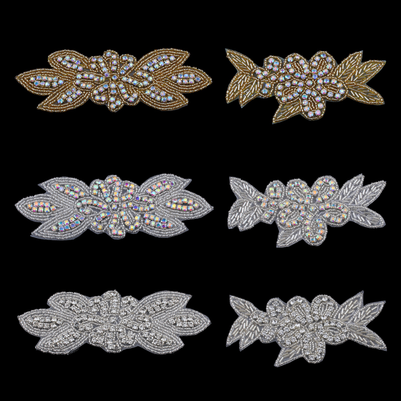 MASOKAN Handmade Bling Sew On Hot Fix Beaded Crystal AB Rhinestone Applique for Wedding Ornaments Baby Girl Hair Accessories